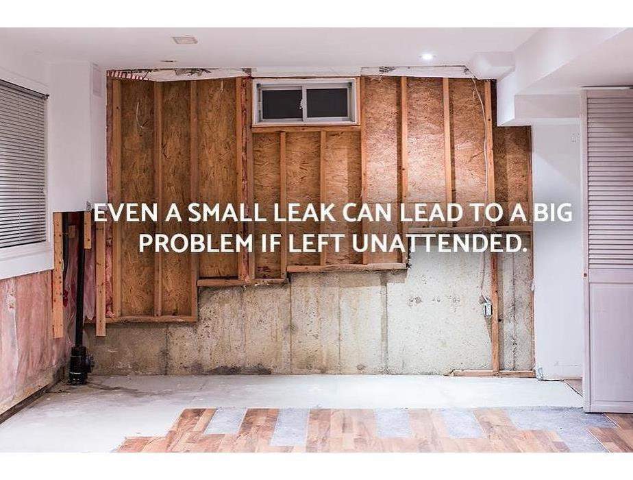 demoed wall and floor due to water damage with text small leaks can lead to big problems.